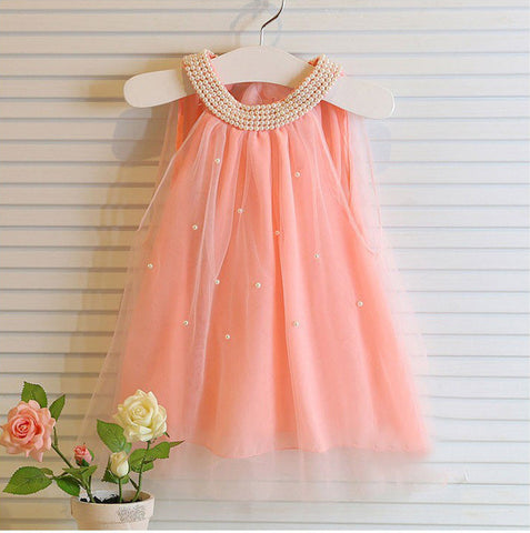 Pink Pearl Princess Dress  baby girl clothes for wedding party costume