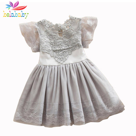 Flower Lace Princess Girl Dress Children Kids Petal Sleeve Party Dresses For Girls