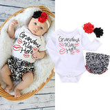 Grandma Was Here 3 Piece Romper + Flower Headband + Pants Baby Set