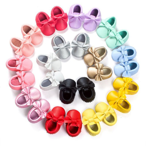 Colorful Soft Baby Moccasin Shoes for Newborns and First Walkers