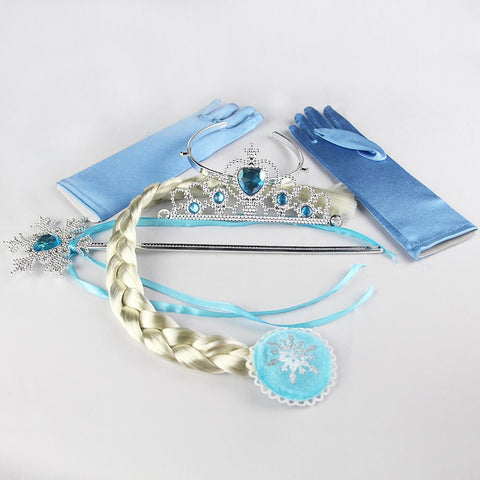 Baby Girls Princess Crown Tiara Set Cosplay Headband + Wig +magic Wand+Glove