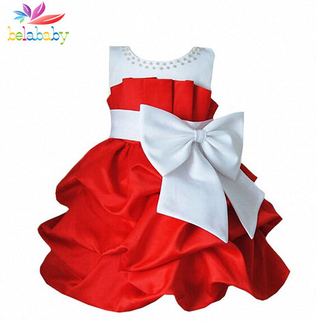 Bowknot Sleeveless Princess Girls Dress TuTu Kids Party Formal Attire