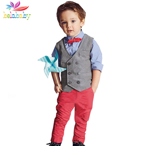 Gentleman Long Sleeve Shirt+Vest+Pant 3PCS Tie Clothes Suit for Kids