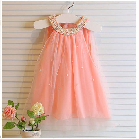 Summer Girl Chiffon Cute Pearl Collar Mini Dress Child Tulle Dress