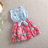 Cute Baby Girl Dress Children Sleeveless Christmas Girls Denim Floral Dresses Kids Princess