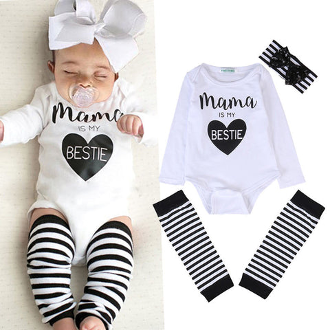 Mama Is My Bestie 3 Piece Romper + Leg Warmer + Headband Set