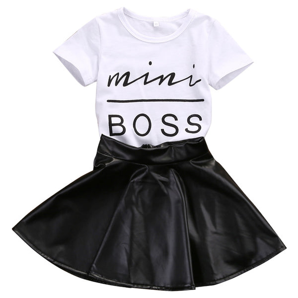 Mini Boss T-shirt Top + Leather Skirt 2PCS Outfit