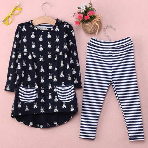 Kids Cartoon Rabbit Striped 2 Piece Top + Pants