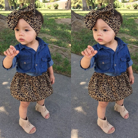 Denim Leopard Print 3 Piece Shirt + Skirt + Headband