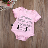 I'll Have A Bottle Of The House White Baby Girl Romper Jumpsuit