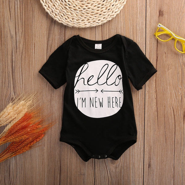 Hello I'm New Here Short Sleeve Baby Outfit Romper
