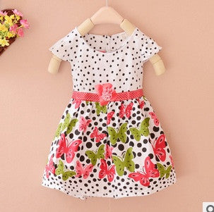 Baby girls dress Short Sleeve cotton dot flora print summer baby clothes princess dress