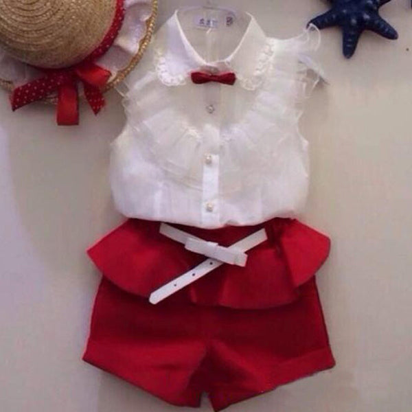 Summer fashion Girl lace white blouses+ red shorts clothing set twinset