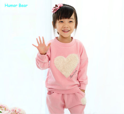 Cute Fashionable love clothing kids girls clothes sets,baby girl long sleeve + pant set