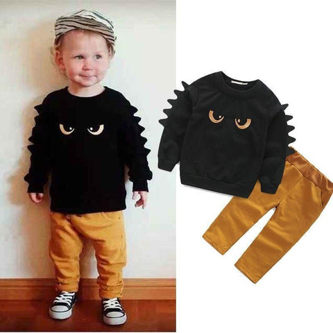 Cute Autumn Winter Baby Boy Clothing 2pc Pullover Sweatshirt Top + Pant Clothes Set Baby