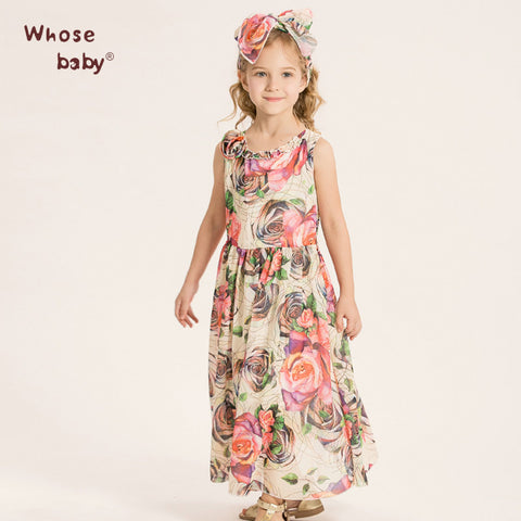 Girls Dress Kids Chiffon Print Flowers Long Beach Dress+Belt 2Pcs Party Princess Tutu Dress