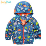 Hot Sale Children's Hooded Jackets Boy and Girl Outwear Fashion Long Sleeve Dinosaur Jacket