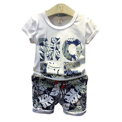Baby summer collection of printing T shirt + shorts pants suit baby boy clothing set