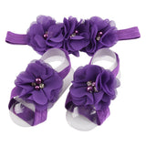 Baby headband chiffon flower headband children girls flower sandals set christening gift