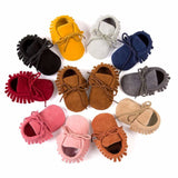 Colorful Soft Baby Moccasin Shoes with Fringe and Tie for Newborns and First Walkers
