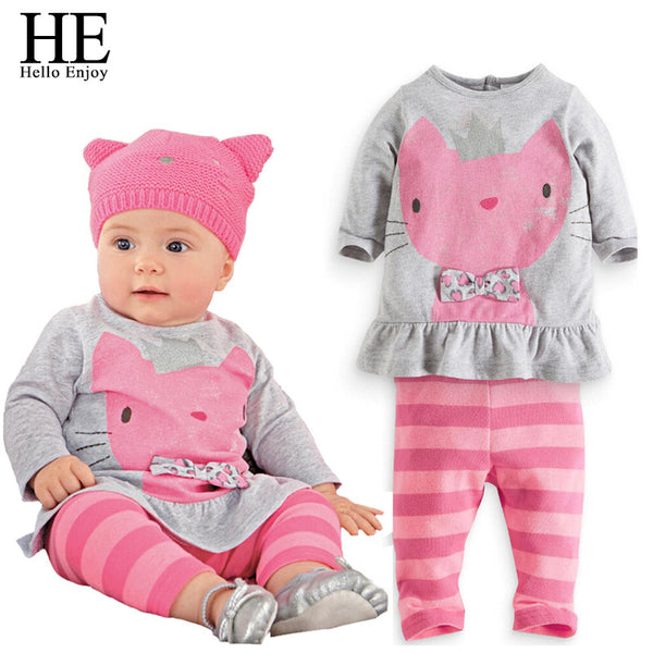 HE Hello Enjoy Baby girls clothing 2016 Autumn cat pink clothes for babies Long Sleeve kids set baby girl outfit