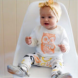 Girl & Boys clothes set long sleeve+Pants owl pattern set of clothes newborn baby suit children clothing