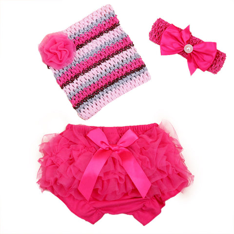 2016 Summer Set For Baby Clothing Girl 0-2 Year Newborn Bra Pantie Crochet Mesh Boob Tube Top Bloomers Children Shorts 3Pcs Sets