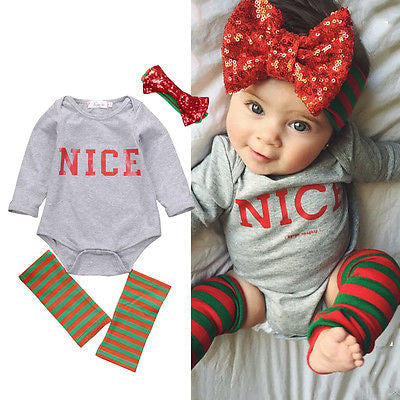 Nice Baby 3 Piece Romper + Flower Headband + Leg Warmer Set