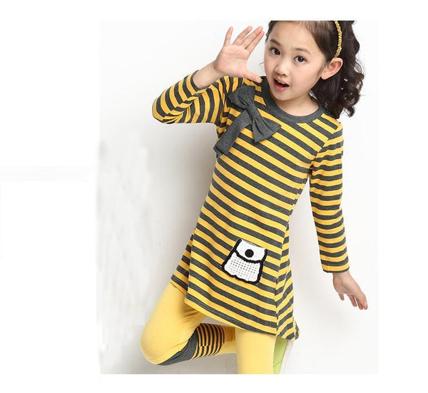 HE Hello Enjoy Kids clothes casual clothes 2016 Autumn girls clothing sets long sleeve stripe T-shirt + leggings clothing sets