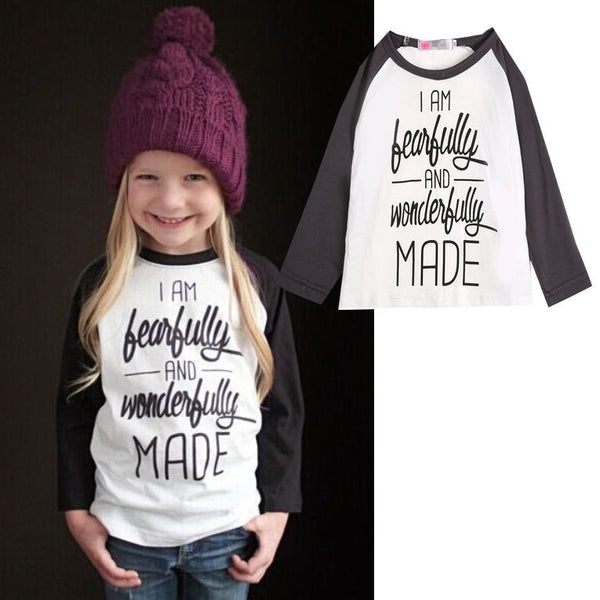 Baby Girls Letter Print T-Shirt Toddler Long Sleeve tops Blouse cotton kids t shirt  girls clothing