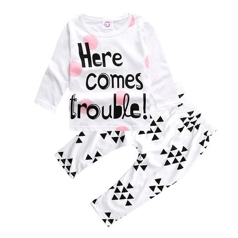SY194  2016 newborn baby girl cotton clothes children clothing long-sleeved T-shirt + pants 2 / pcs baby set bebe clothing set