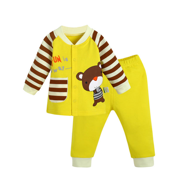2pcs Cotton Autumn Baby Clothing Set  Bear Striped Shirt + Pants