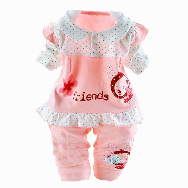 2016 Spring Baby Clothes Girls Clothing Sets Lace Rose Bow Tshirt+pants Newborn Infant Clothing Sets Hot Kids Clothes Set