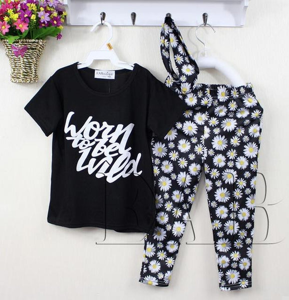 Summer style letter floral daisy printed Toddler baby girl clothes set outfit +headband 3 pieces set for 1-5 Y