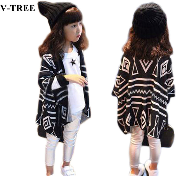 V-TREE Autumn and spring geometric children outerwear kids jackets & knit coats baby clothing cardigan jackets for girls