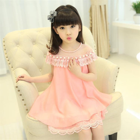 2016 New Summer Girls Princess Dress  Children's Evening Clothing Kids Chiffon Lace Dresses Baby Girl Party Pearl Dress