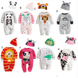2016 new newborn clothing baby boys clothes baby girl romper cartoon casual jumpsuit multicolored hats clothing sets