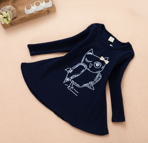 NEW fashion cotton girl dress long sleeves baby girl princess dress girls cartoon owl casual clothes