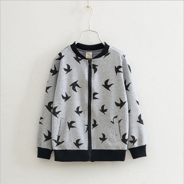 Spring autumn juinor school girls sweatshirt cotton animal print jacket coat for girls teenage girls kids children's outwear