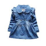 Blue Dotted Girls Denim Jacket
