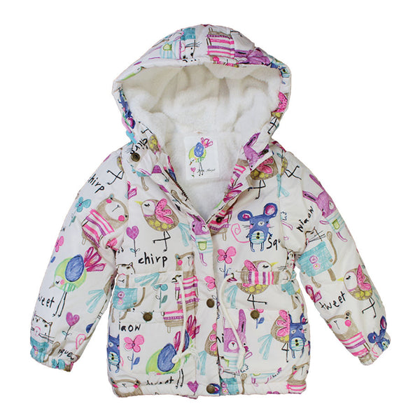 Girls Down & Parkas Cartoon Graffiti Coats Outerwear Girls Winter Kids Jackets Hooded  Baby Girls Windbreaker Children Clothing
