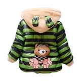 2016 Warm Baby Girls Coat Winer Cartoon Panda Boys Girls Jacket For Children Hooded Fleece Lining Cotton-Padded Kid Coat