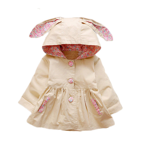 New Spring Autumn Baby Girls Coat Love Rabbit Infant Newborn Jackets Hooded Kids Outerwear Windbreaker  For Baby Girls Clothes