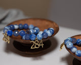 284 Foundation Tortola Deep Blue Agate with Gold Pendant