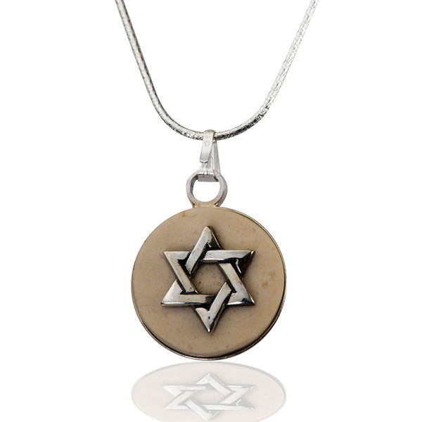 Round Temple Mount stone necklace with Star of David