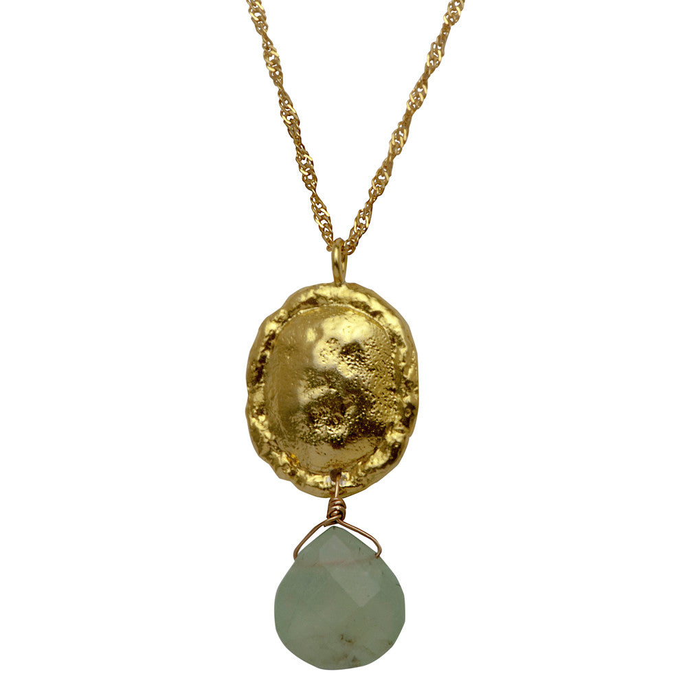 Hammered Gold Necklace with Swarovski Stone