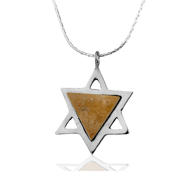 Star of David Temple Mount Stone Necklace