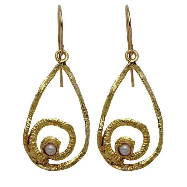 Gold Ornament Earrings with Pearl