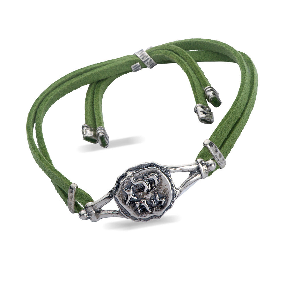 Pure for God  Green Leather Bracelet