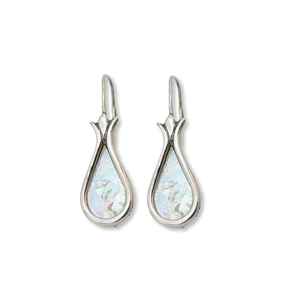 David's Harp Silver Roman Glass Earrings